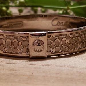 Silver Coach monogram logo bangle bracelet